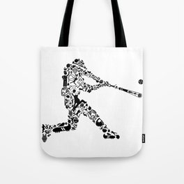 Baseball Player Hit Collage Silhouette Art Tote Bag