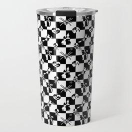 Black and White Vintage Halloween Disco Check Travel Mug