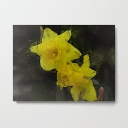 Yellow Daffodils Impressionist Painting Metal Print