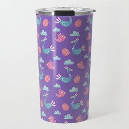Modern green pink violet hand drawn birds pattern Travel Mug