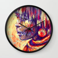 african Wall Clocks featuring African portrait by Marta Zawadzka
