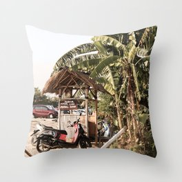 Tropical Plant Leaves In Canggu Bali Photo Art Print   Summer Holiday Travel Photography Throw Pillow