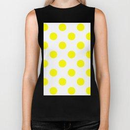 Large Polka Dots - Yellow on White Biker Tank