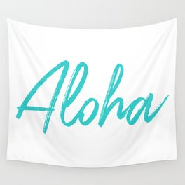 Aloha in Tropical Blue Wall Tapestry