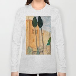 "Amedeo Modigliani ""Cypresses and Houses at Cagnes (Cyprès et maisons à Cagnes)"" Long Sleeve T-shirt"
