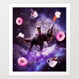 Outer Space Pug Riding Dinosaur Unicorn - Donut Art Print
