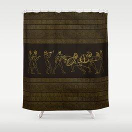 Ancient Sparta  Greece scene on greek pattern Shower Curtain