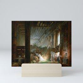 Hubert Robert A Hermit Praying in the Ruins of a Roman Temple Mini Art Print