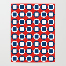 Bead Pattern - Red White & Blue Poster