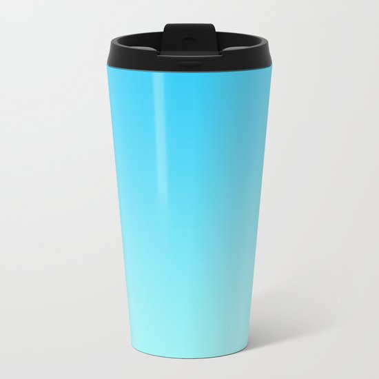 Simply sea blue teal color gradient - Mix and Match with Simplicity of Life Metal Travel Mug