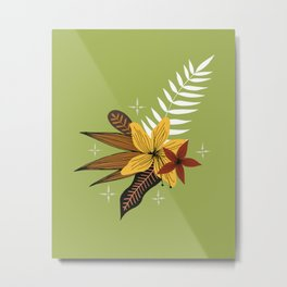 tropical bouquet on green Metal Print