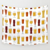 beer Wall Tapestries featuring Beer  by Cute to Boot