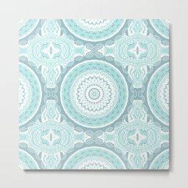 Mandala Pattern Light Blue Teal Aqua Pastels Metal Print