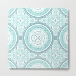 Mandala Pattern Light Blue Teal Aqua Pastels Metal Print