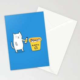 Cat recycles plastic Stationery Cards