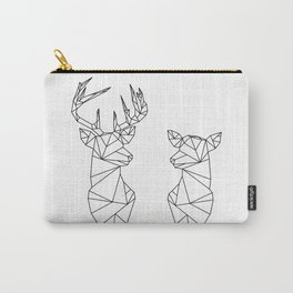 Geometric Stag and Doe (Black on White) Carry-All Pouch