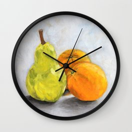 Still life - Pear and Oranges Wall Clock