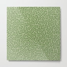 Army Green Abstract Lines Metal Print