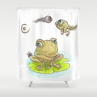 evolution Shower Curtains featuring Evolution by Laeti Vanille