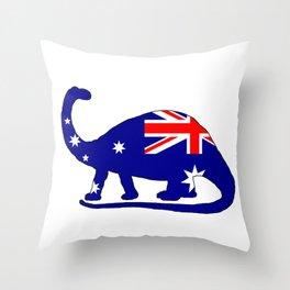 Australian Flag - Brontosaurus Throw Pillow