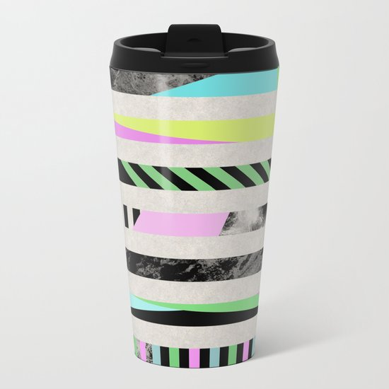 Crazy Lines - Pop Art, Geometric, Abstract Style Metal Travel Mug