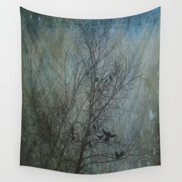 Blackbird Convention on a Snowy Day Wall Tapestry