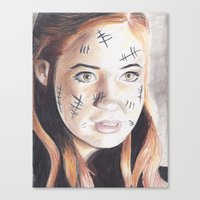 amy pond Canvas Prints featuring amy pond drawing by Jill Schell