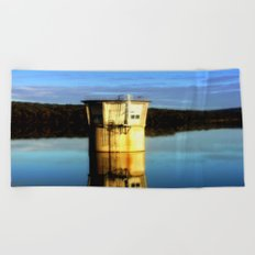 Reflections of a water Tower Beach Towel