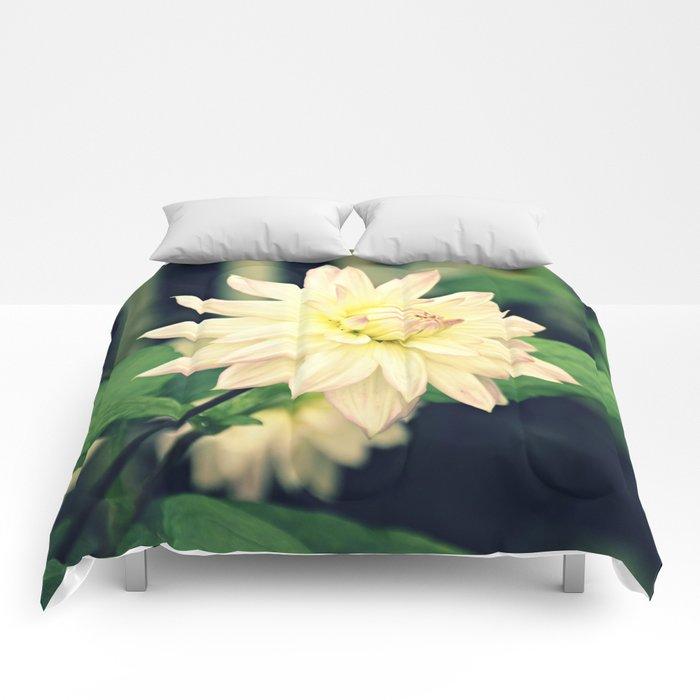 White dahlia retro Comforters