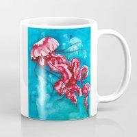 jellyfish Mugs featuring Jellyfish by missfortunetattoo