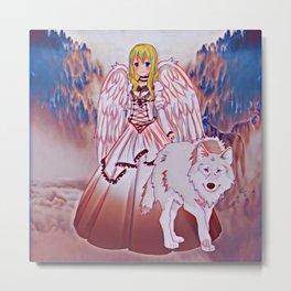 Wolf Princess Rose Metal Print