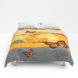 MOON & MONARCH BUTTERFLIES DESERT SKY ABSTRACT ART Comforters
