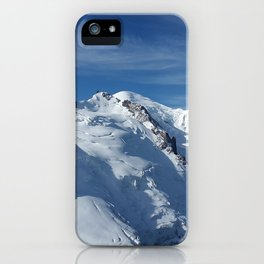 Awesome white snowy Mont Bla   nc Alps mountains in Italy, France, Europe on a beautiful winter day iPhone Case