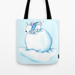A Fluffball on a Snowball Tote Bag
