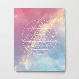 Sri Yantra Sacred Geometry over Galaxy - Pink & Blue Metal Print