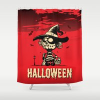 pumpkin Shower Curtains featuring Halloween pumpkin girl by mangulica