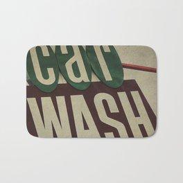 Retro Car Wash Sign Bath Mat