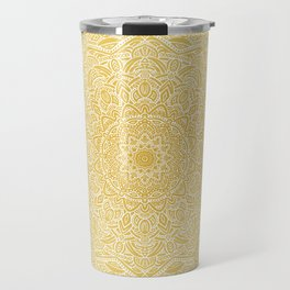 Most Detailed Mandala! Yellow Golden Color Intricate Detail Ethnic Mandalas Zentangle Maze Pattern Travel Mug