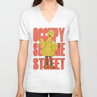sesame street V-neck T-shirts featuring OCCUPY SESAME STREET by perilpress