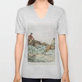 Illustration of men clearing hurdle during a hunting from Sporting Sketches (1817-1818) by Henry Alk Unisex V-Neck