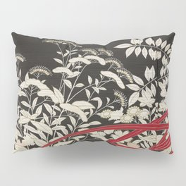 Kuro-tomesode with a Pair of Pheasants in Hiding (Japan, untouched kimono detail) Pillow Sham