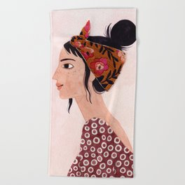 Embroidered scarf Beach Towel