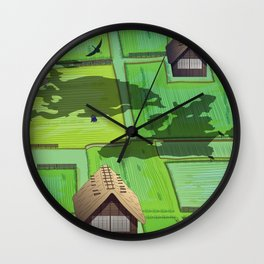 Rice paddy field Wall Clock