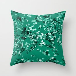 Emerald Glitter Stars #1 #shiny #decor #art #society6 Throw Pillow