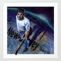 springsteen Art Prints featuring Springsteen spans the globe by kenmeyerjr