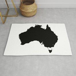 Australia Black Silhouette Map Rug