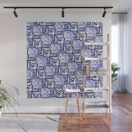 Symmetric Frog Tessellation in Blue Wall Mural