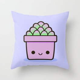 Succulent in Kawaii Pot  1 Throw Pillow