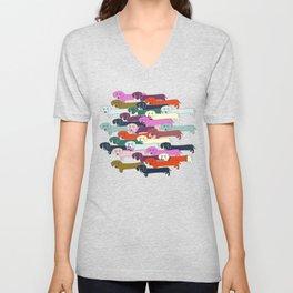 colored doggie pattern Unisex V-Neck