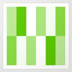 Green and white Block gradient Art Print